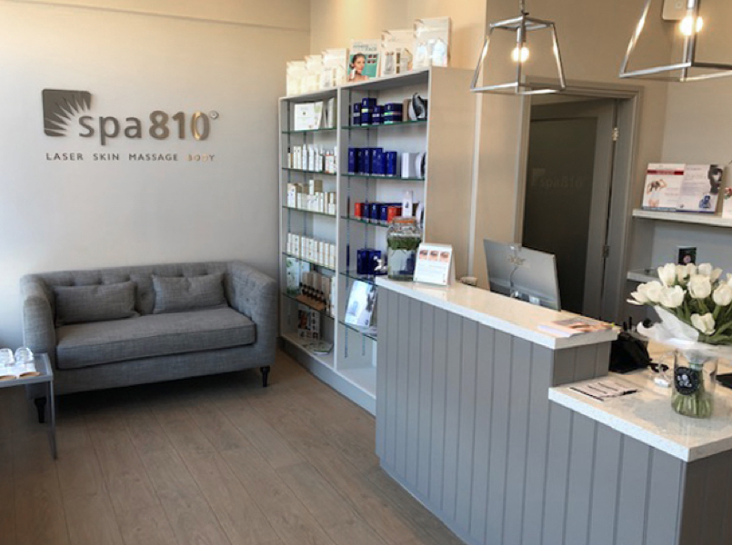 spa810 reception and client waiting area